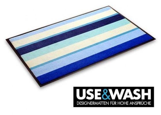 Designmatte Sardinien - Streifen blau