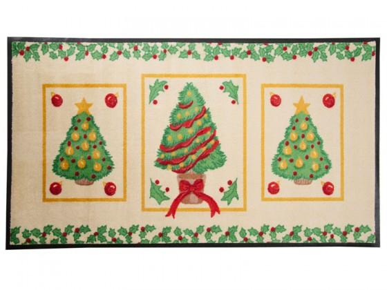 Weihnachtsmatte Weihnachtsbäume mit verschiedenen Schmuckarten