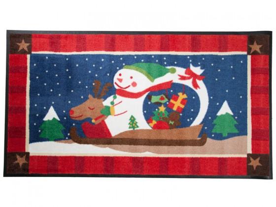 Weihnachtsmatte Schneemann auf Weihnachtsschlitten