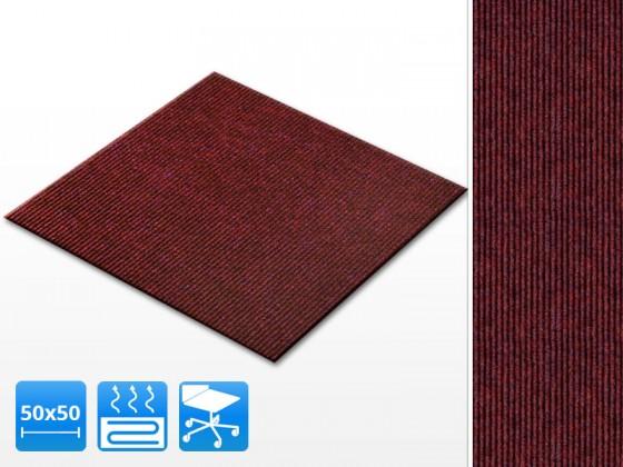 Teppichfliesen Merci   50x50 cm   Rot   Gerippt   Selbstklebend