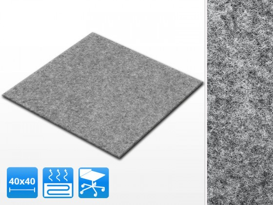 Teppichfliesen Scene | 40x40 cm | Grau | Nadelfilz | Selbstklebend