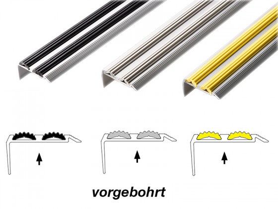 Treppenkantenprofil mit Doppel-Gummieinlage   Power Grip   Vorgebohrt