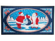 Weihnachtsmatte mit zwei Weihnachtsmännern im Weihnachtswald, die ihren Gabensack `Freude´ tragen.