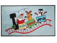 Weihnachtsmatte mit lustigem Weihnachtsmotiv, Eisenbahn mit Passagieren Weihnachtsmann, Rentier und Schneemann