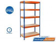 Schwerlastregal | Blau-Orange | Gesamtlast: 875 kg | 4 Grössen