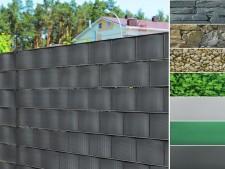 PVC-Sichtschutzstreifen | Für Gittermatten-Zäune | 3 Farben + 4 Designs