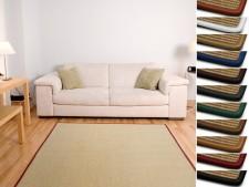 Sisal-Teppich auf Mass | Salvador natur | Kettelung in Wunschfarbe