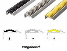 Treppenkantenprofil mit Einzel-Gummieinlage | Power Grip | Vorgebohrt